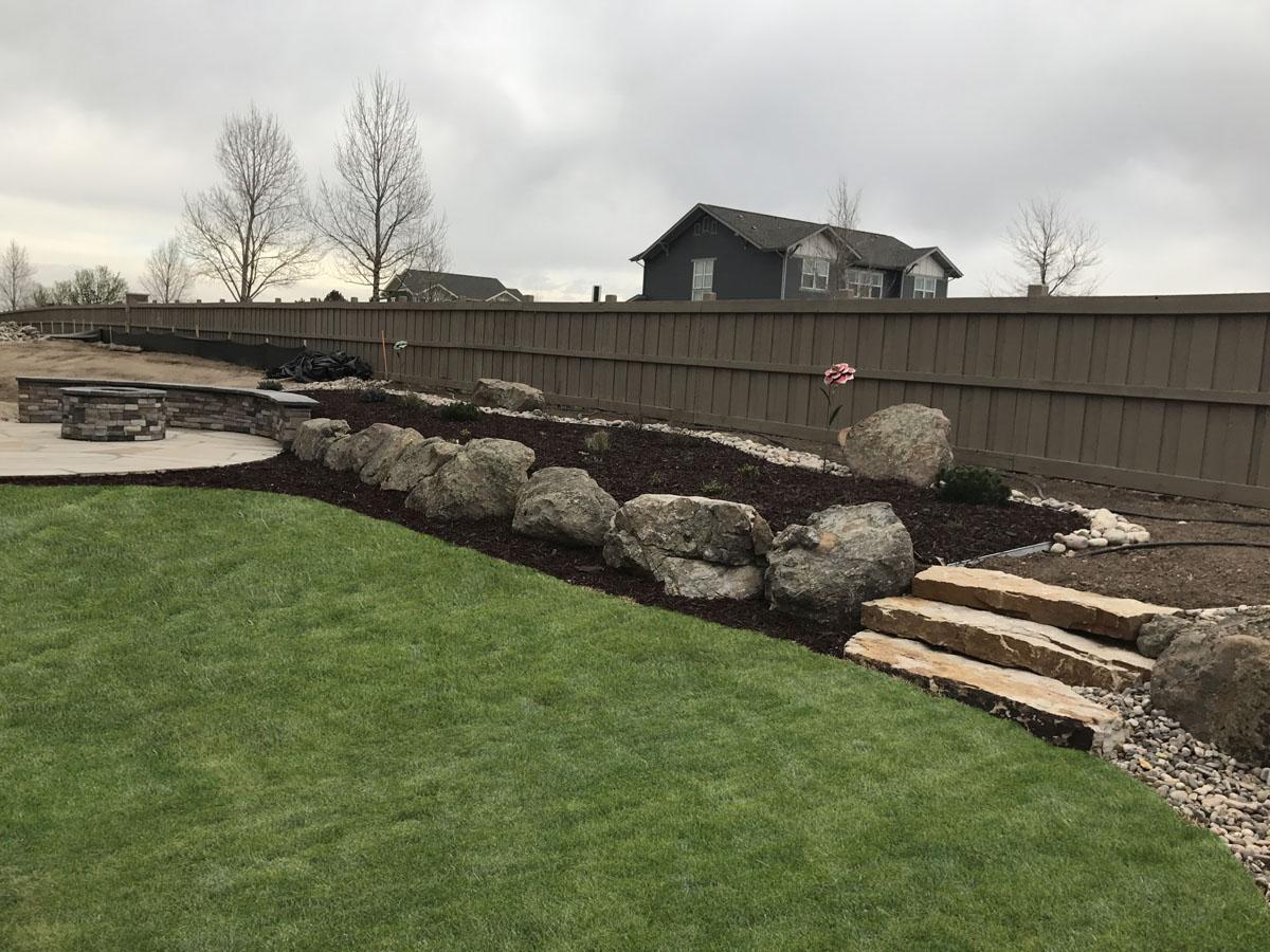 Retaining walls, Boulders, and Sod - Frontrange Landscape on